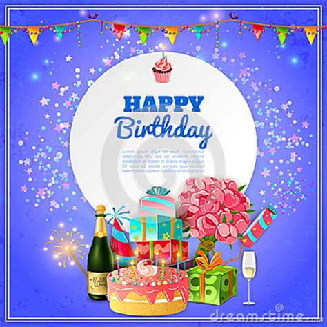 happy birthday party background poster stock vector