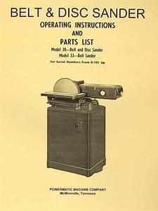 Powermatic 30 And 33 Sander Operator U0026 39 S  U0026 Parts Manual