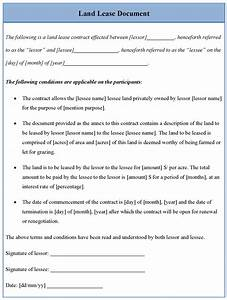 land lease template sample templates With land rental agreement template