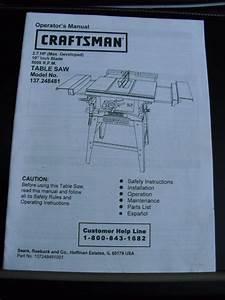 Craftsman Table Saw  137 248481 Operator U0026 39 S Manual