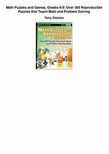 Math puzzles and games grades 6 8 over 300 reproducible ...