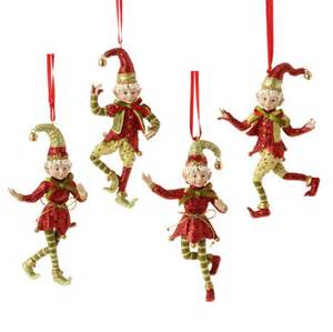 raz snow biz christmas elf christmas ornaments set of 4 3407051
