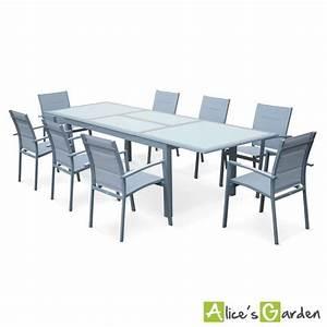 salon de jardin 8 fauteuils table a rallonge extensible With salon de jardin avec rallonge