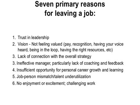 Reasons For Leaving Current On Resume by Talent Retention Penne Gabel And Colleen La