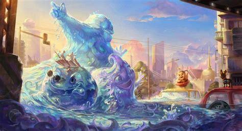 cartoon tsunami sea wave creature funny photoshop painting