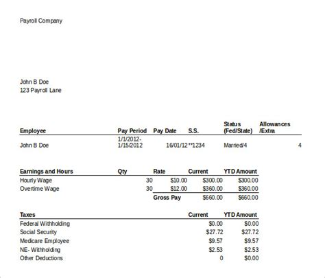 pay stub templates samples examples formats