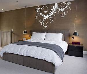 Fantastic brown bedroom wall with exciting white mural for Bedroom wall art