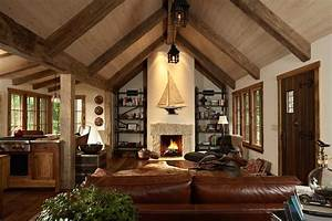 Open beamed ceiling designs living room traditional with