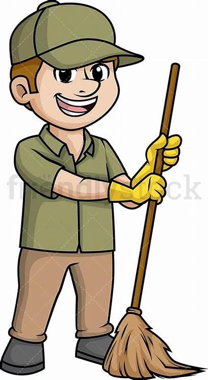 Sweeping Broom Cartoon Clipart Male Floor Janitor