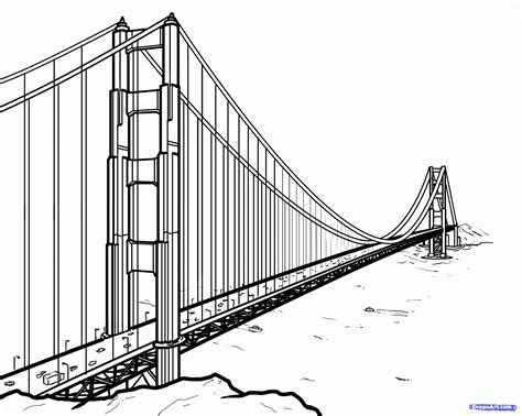 Step 25 How To Draw The Golden Gate Bridge Golden Gate