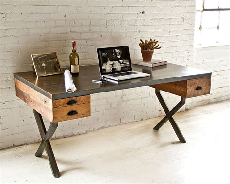 wood and steel desk reclaimed wood and metal desk made by wood