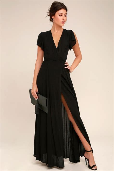 Lovely Black Dress - Wrap Dress - Maxi Dress