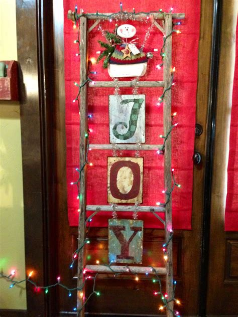 ladder decorated  christmas  fall