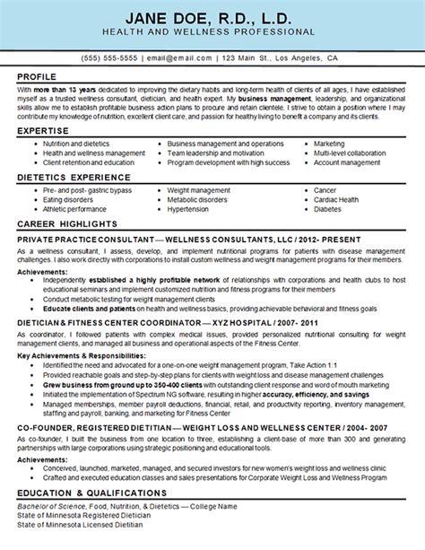 health wellness resume exle