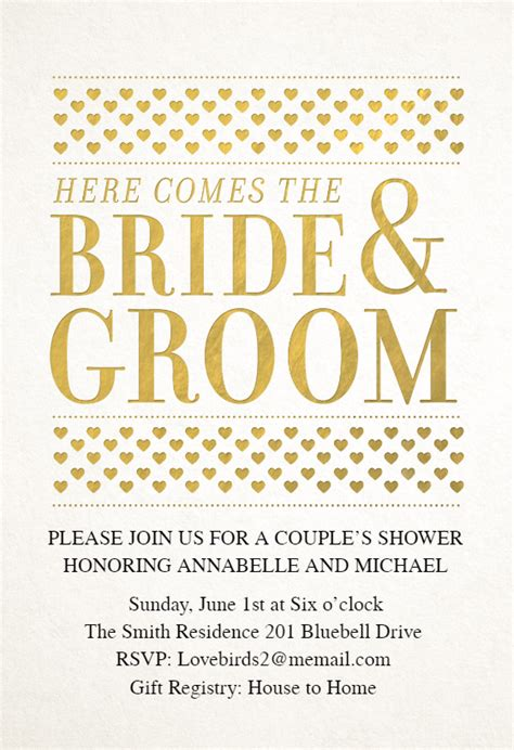 bride  groom bridal shower invitation