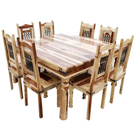 table and 8 chairs peoria solid wood large square dining table chair set
