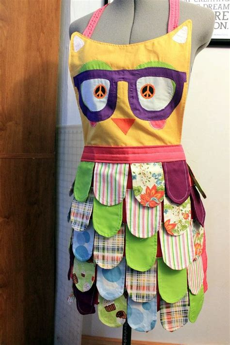 Nerdy Kitchen Aprons by The Original Pink Rainbow Owl Apron Neon Retro Kitchen
