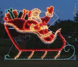 animated santa in sleigh garland lights commercial outdoor decoration
