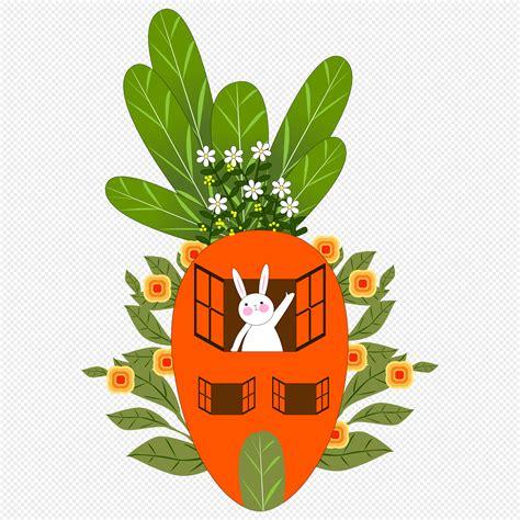 การ์ตูนวาดด้วยมือบ้านแครอทน่ารักกระต่ายใบไม้เขียวดอกไม้ ...