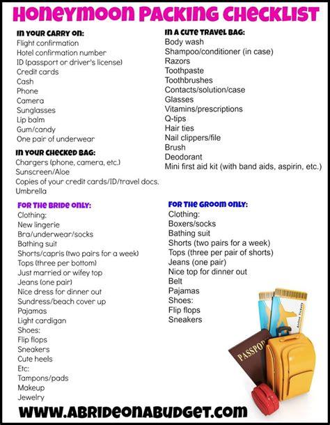 honeymoon checklist ideas  pinterest