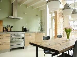 peinture vert d39eau une couleur deco pour salon et cuisine With deco cuisine avec meuble salle a manger chene clair