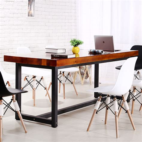 american country wrought iron dining table solid wood desk