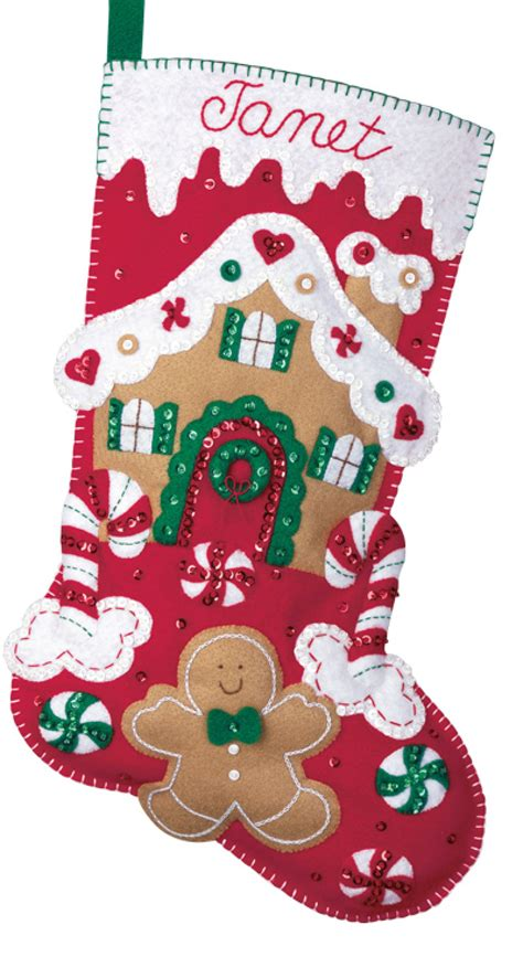 felt applique kits gingerbread house bucilla kit