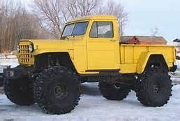 door willys truck yellow lifted offroad tires jeep scout willys cool trucks