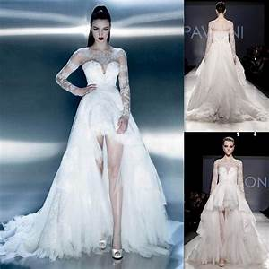 White high low prom dresses tulle lace with long sleeve for Long sleeve high low wedding dresses