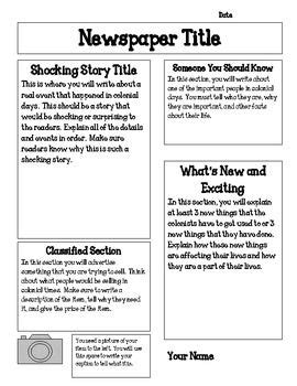jamestown colony newspaper project  images