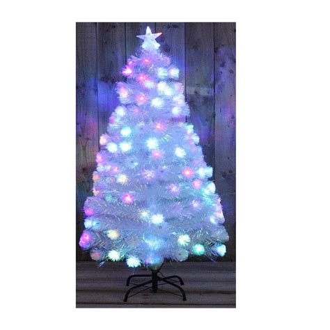 white rainbow led fibre optic christmas tree multi