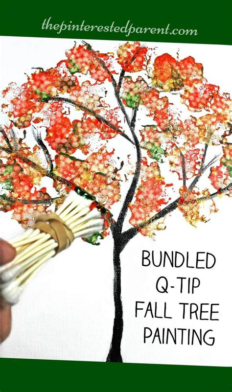 fall tree painted with bundled q tips autumn arts 822 | 76bbb310e9be5888821929a7eee89430