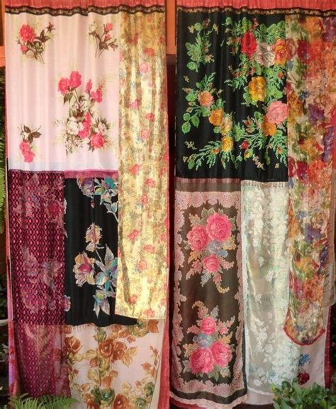curtains made of scarves colorful