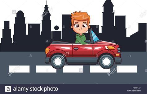 Cartoon Boy Driving Car Stock Photos & Cartoon Boy Driving