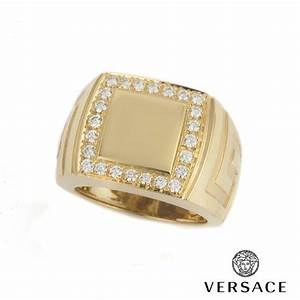 versace 18k yellow gold diamond ring rich diamonds of With wedding rings versace