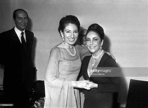 Maria Callas and Elizabeth Taylor in October 25, 1973 in ...