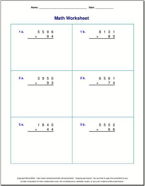 grade 5 multiplication worksheets