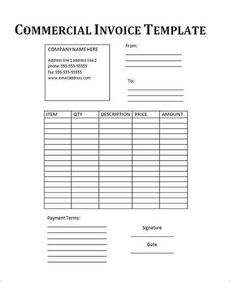 commercial invoice template word 18 free commercial invoice templates sle templates