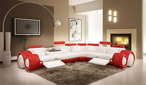 divani casa  modern white  red leather sectional sofa