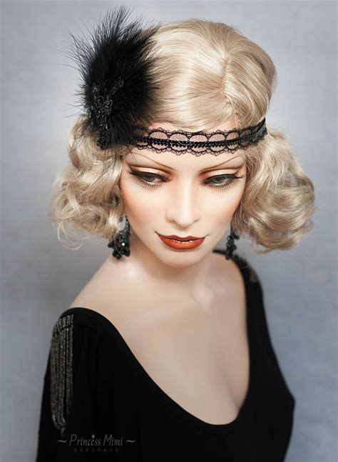 20s Hairstyles With Headband by Deco Headpiece Flapper Headband Feathers And Beaded