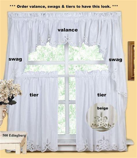 beige battenburg lace kitchen curtain valance tier swag