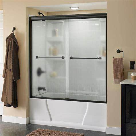 shower tub enclosures home depot delta mandara 60 in x 58 1 8 in semi frameless sliding