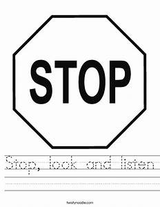 Stop  Look And Listen Worksheet