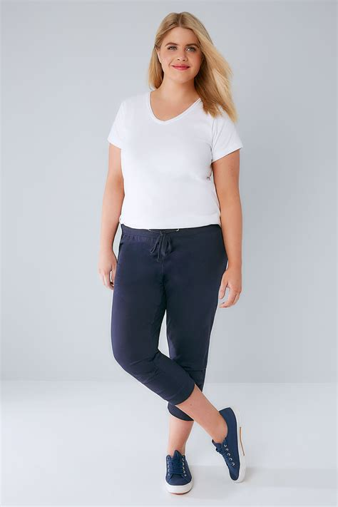 crop navy rawis navy basic cotton jersey cropped joggers with fold detail