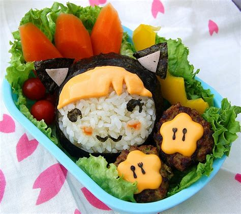 bento japanese cuisine delightfully smiling cat bento lunch with
