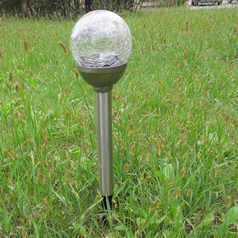solar crackle glass lights garden decor stake yard