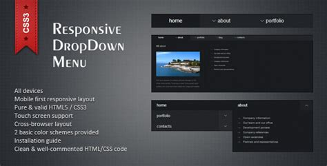 Html5 Drop Menu Template by Responsive Html5 Css3 Dropdown Menu By Twelve Codecanyon