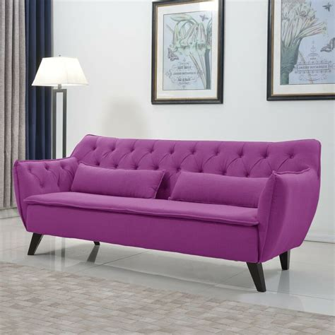 Purple Contemporary Sofa by Mid Century Purple Modern Sofa Linen Fabric Tufted Button