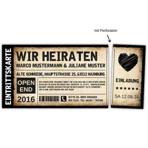 hochzeitseinladung vintage ticket mit herz