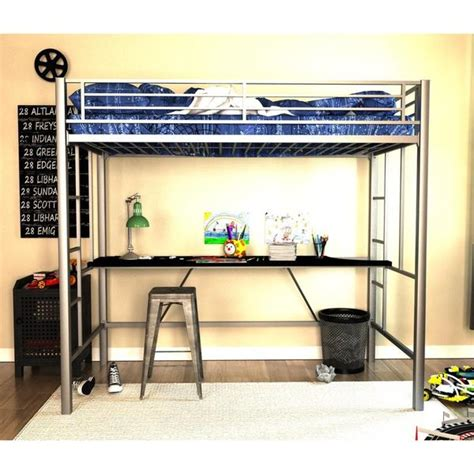 Metal Bunk Bed With Desk by Shop Dhp Silver Metal Loft Bed With Desk Free